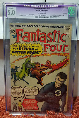 The Fantastic Four #10 (1963, Marvel) CGC 5.0 RESTORED Stan Lee Jack Kirby