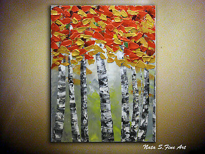 Original Birch Painting, Abstract Textured Tree Painting, Palette Knife Art