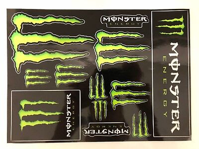 Authentic Monster Energy Stickers Sheet - Set of 12 Stickers-Super Glossy Decals