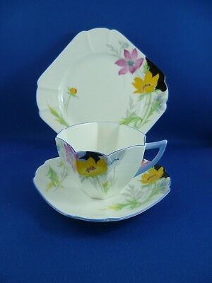 SHELLEY Queen Anne HAND PAINTED FLOWERS Cup, saucer & plate RD723404 Pat 12152