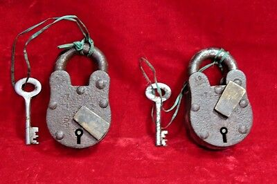 2 Pc. Old Antique Vintage Rare Iron Brass Lock and Key Collectible BD-5
