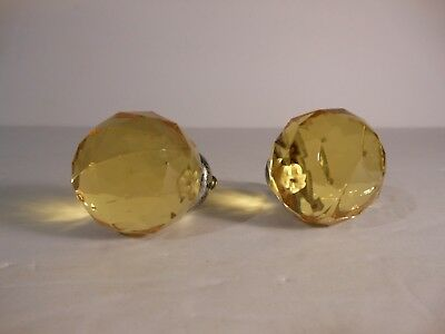 Lot of 2 New Glass Cabinet Drawer Dresser Cupboard Knobs Pulls Amber in Color