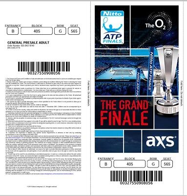 Ticket Atp World Tour Finals 2018 17 November Start 12.00am