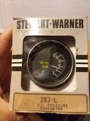 NEW IN OPEN BOX, Vintage Stewart Warner Stage 3 Oil Pressure PSI Gauge     DS01
