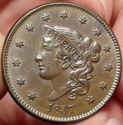 1837 N-3 Coronet Head Large Cent Choice Almost Uncirculated Copper 1C Type Coin