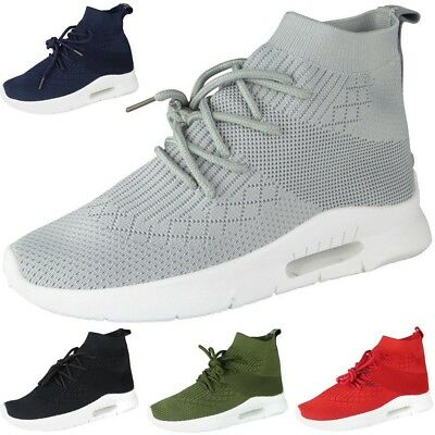 Womens Sock Trainers Ladies Lace Up Jogger Jogging Heel New Sneakers Shoes Sizes