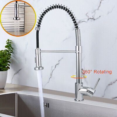Modern Monobloc Kitchen Mixer Tap Chrome Brass Pull Out Hose Spray Single Lever