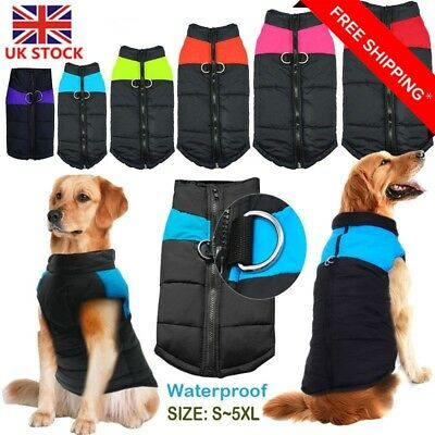 UK Waterproof Pet Dog Clothes Autumn Winter Warm Padded Coat Vest Jacket Apparel