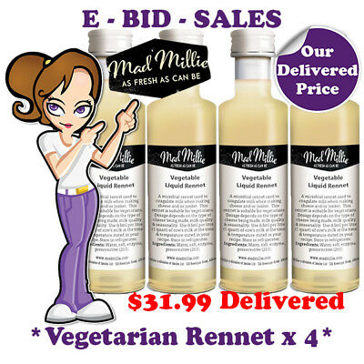 Liquid Rennet Vegetarian For CHEESE MAKING By Mad Millie x 4 Pack @ $31.99 * Del