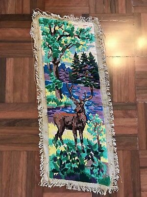 Antique french Switzerland European alps stag deer cerf colourful tapestry