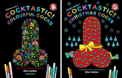 TWO Cocktastic! Colourful Cocks: Hilarious colouring books Festive Funny Gift