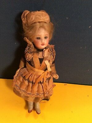 """Antique 5"""" French Bisque Headed Doll Original Clothes"""