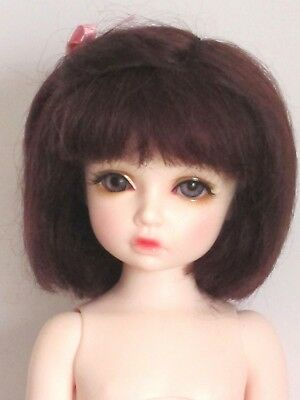 """Real mohair doll wig for BJD and Artist dolls-6/7""""(16/17cm)-dark brown"""