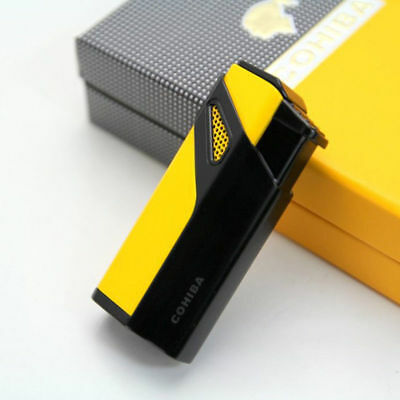 COHIBA Yellow Focusing 3 Torch Jet Blue Flame Cigar Cigarette Lighter With Punch