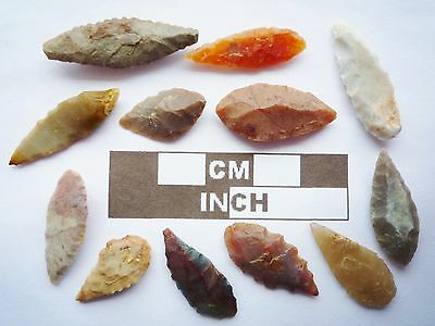 Neolithic Arrowheads, 12 x Leaf Style Artifacts - 4000BC - (Q149)