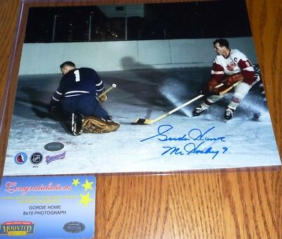Gordie Howe SIGNED Mr Hockey 9 inscribed 8x10 Detroit RedWings Photo Mounted COA
