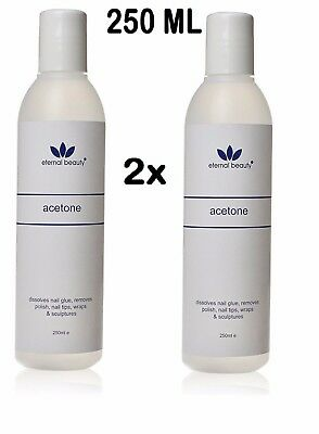 2X Pure 100% Acetone Superior Quality Nail Polish Remover UV/LED GEL Soak Off UK