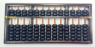 Antique Wood Metal Brass Abacus 13 Rods 2 are Metal 91 Beads Chinese The rare 1