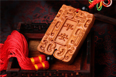 Jujube Wood Carving Red Chinese Safeness Statue Sculpture Car Pendant 平安