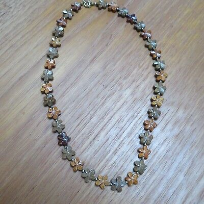 Wood Necklace of Plumeria Flowers from the Island of Molokai, Hawaii