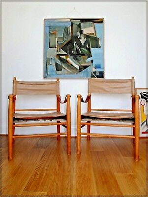 PAIR OF VINTAGE MID CENTURY DANISH CHAIRS LEATHER AND OAK 1960's