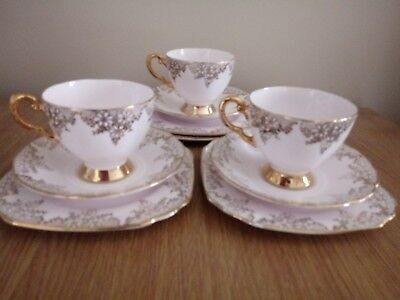 Tuscan Plant China Pale Pink & Gold Trios
