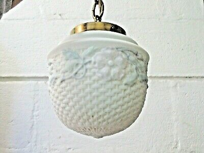 Reverse Painted Vintage Hallway Ceiling Fixture Brass Cap & Chain Art Deco Lamp