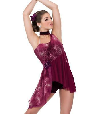 Dance Costume Large Child 11-12 Burgandy Lyrical Contemporary Solo Competition