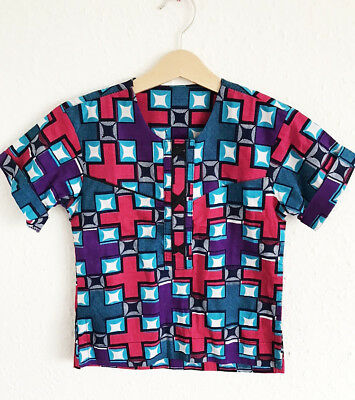 Vintage Kids 80s 90s African Folk Festival Tribal Ethnic Abstract Shirt 4 5 Y