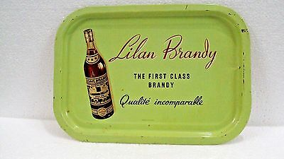 1930s Original Vintage Ad Sign Tin Tray LILAN Brandy Made in France