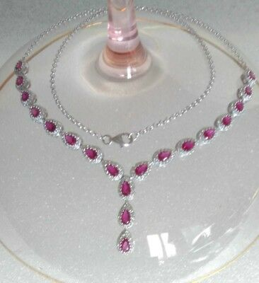AAA Quality 925 Sterling Silver Jewelry Pinkish Red Ruby Lady Necklace
