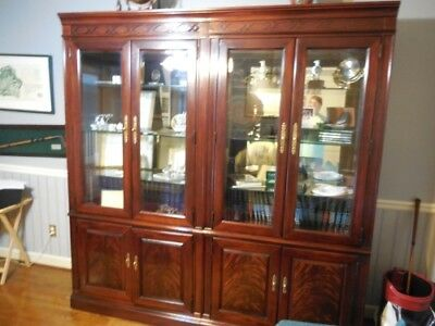 Lighted Display Cabinet/Bookcase with Glass Doors & Shelves