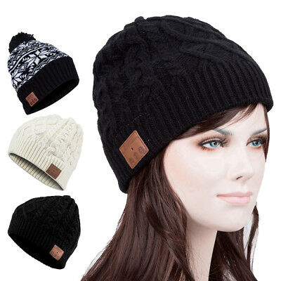 Winter Outdoor Warm Knit Hat Ski Beanie Cap Built in Wireless Bluetooth Headset