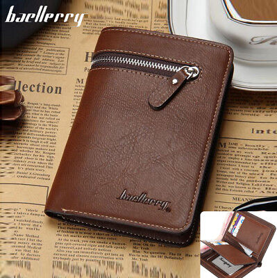 Men's Leather High Capacity Zipper Wallet Credit Card Checkbook Purse New 2019