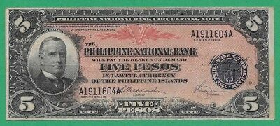 Philippines Banknote P46B Five Pesos 1916 PNB Issue