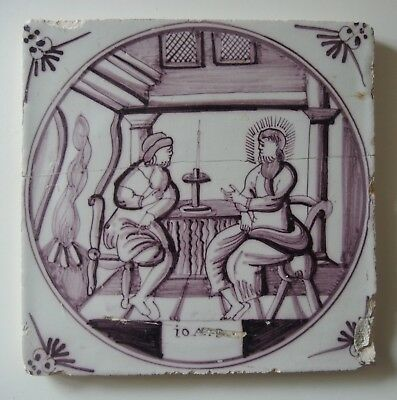 "18th century DUTCH DELFT BIBLICAL TILE ""JOHN 3: JESUS TEACHES NICODEMUS"""