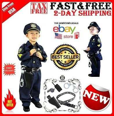 Cops Costume for Kids Police Officer Realistic Uniform 911 Outfit Role Play Kit