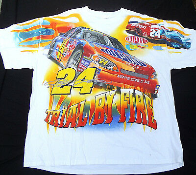 VINTAGE 90s JEFF GORDON Trial By Fire T Shirt Mens XXL CASE Monte Carlo NASCAR