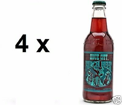 4 x USA SIOUX CITY Birch Beer Soda Drink 355ml ea. (Sweetened wtih Cane Sugar)