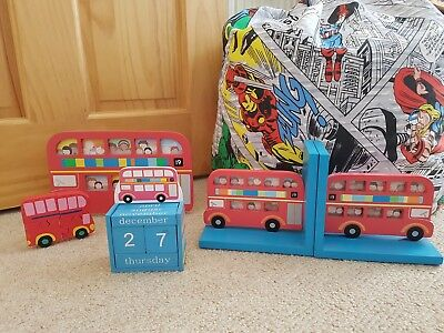 Sass & Belle Red Bus/Cars Picture Frame, Bookends, Calendar, Puzzle Nursery Room