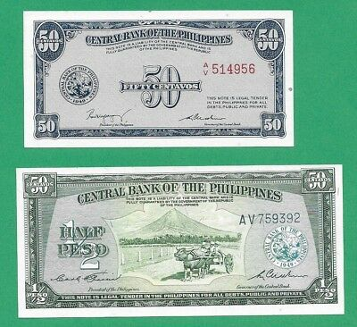 Philippines Banknotes Lot of 2 1949 CBP English Issue P131a P132 UNC