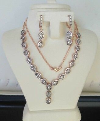 AAA Quality 925 Sterling Silver Jewelry Asian White Zircon -Cz Lady Necklace Set