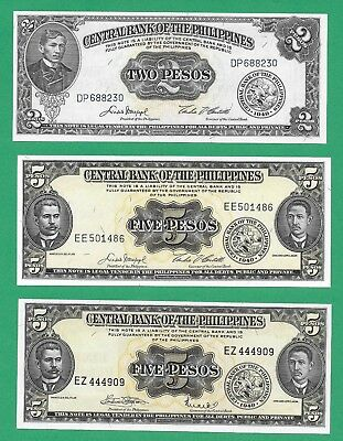 Philippines Banknotes Lot of 3 1949 CBP English Issue P134d P135e P135f UNC