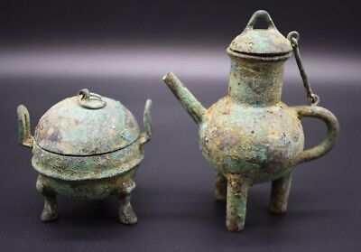 Group of two Chinese Han Dynasty bronze pots C. 202 BC - 220 AD