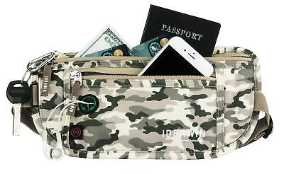 Travel Money Belt RFID Blocking Travel Wallet Passport Holder  Waist Pack(Camo)