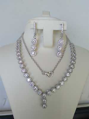 AAA Quality 925 Sterling Silver Jewelry Asian White Zircon Lady Necklace Set