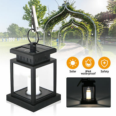 1X Outdoor Solar Power LED Candle Light Table Lantern Hanging Garden Coach Lamp