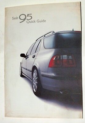 SAAB 95 Quick Guide 2001 Original Foldout Booklet English