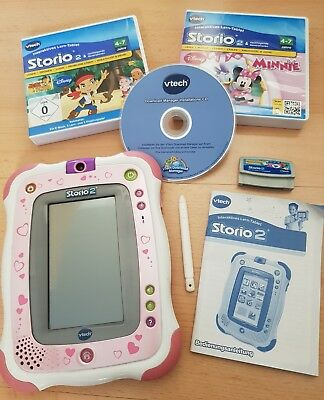 "Vtech Storio 2 ""rosa Edition"" Lern Tablet + 2 Spiele + Anleitung + Stift + CD +"