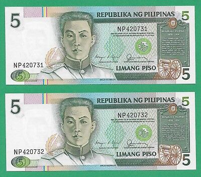 Philippines Banknotes Lot of 5 P168b Five Pesos BSP Issue Consecutive SNs UNC
